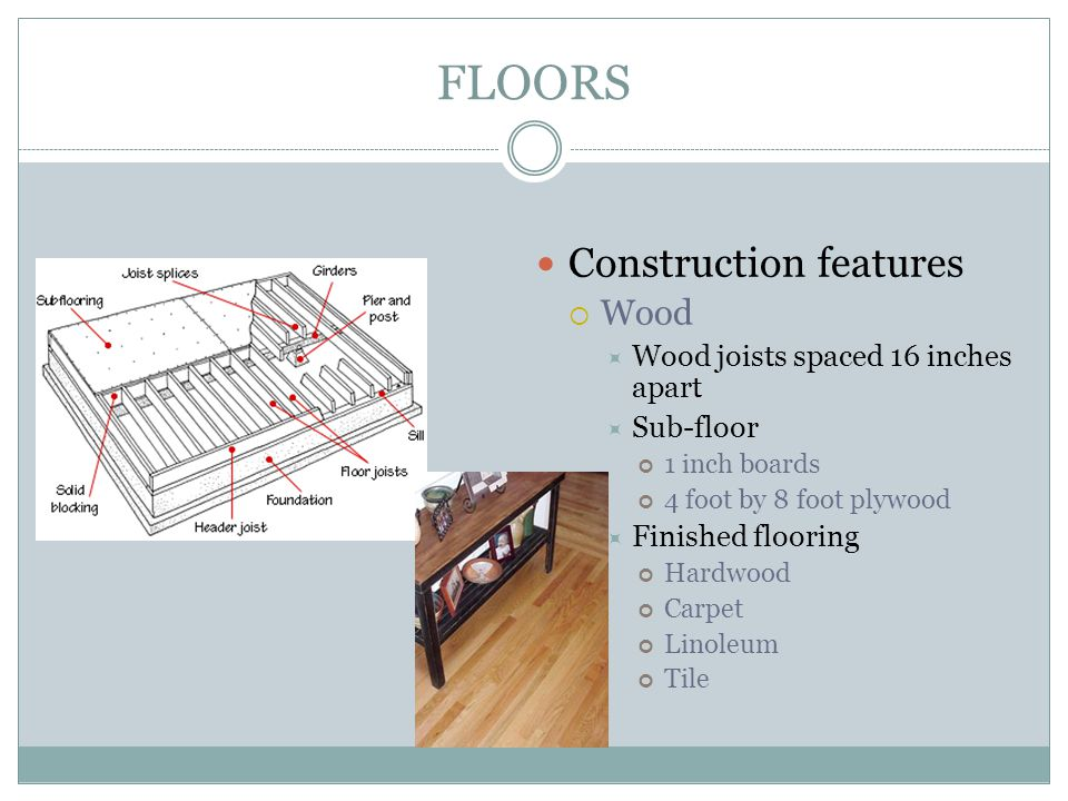FLOORS Construction features Wood Wood joists spaced 16 inches apart