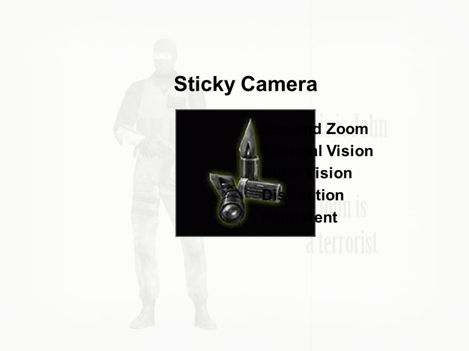 Sticky Camera Pan and Zoom Thermal Vision Night Vision Distraction