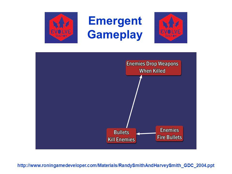 Emergent Gameplay http://www.roningamedeveloper.com/Materials/RandySmithAndHarveySmith_GDC_2004.ppt