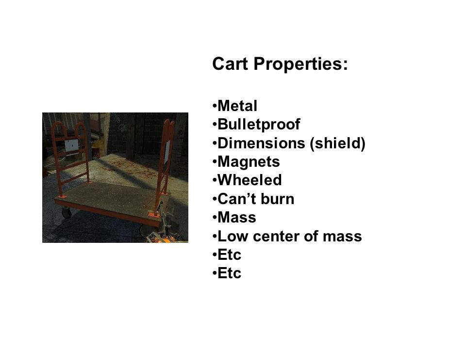 Cart Properties: Metal Bulletproof Dimensions (shield) Magnets Wheeled