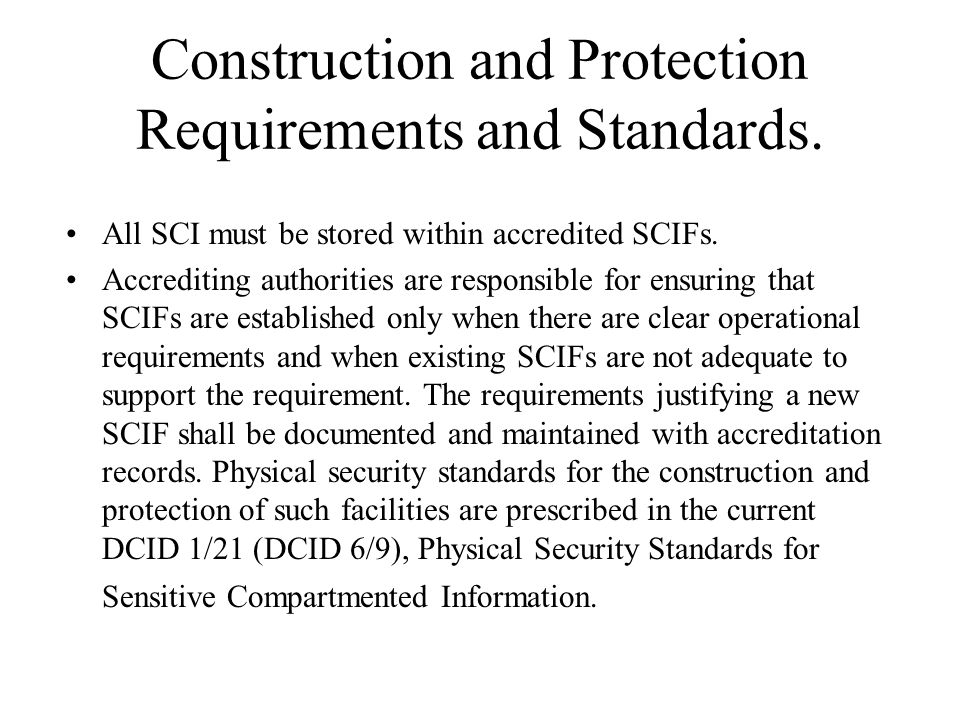 Construction and Protection Requirements and Standards.