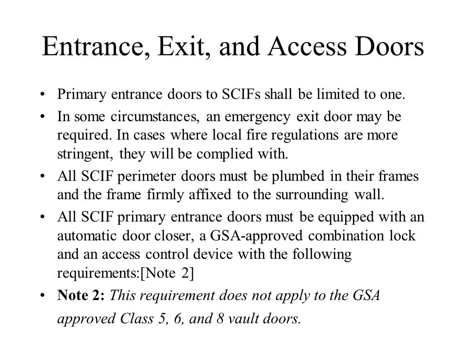 Entrance Exit and Access Doors  sc 1 st  SlidePlayer & Sensitive Compartmented Information Facilities (SCIF) - ppt video ... pezcame.com