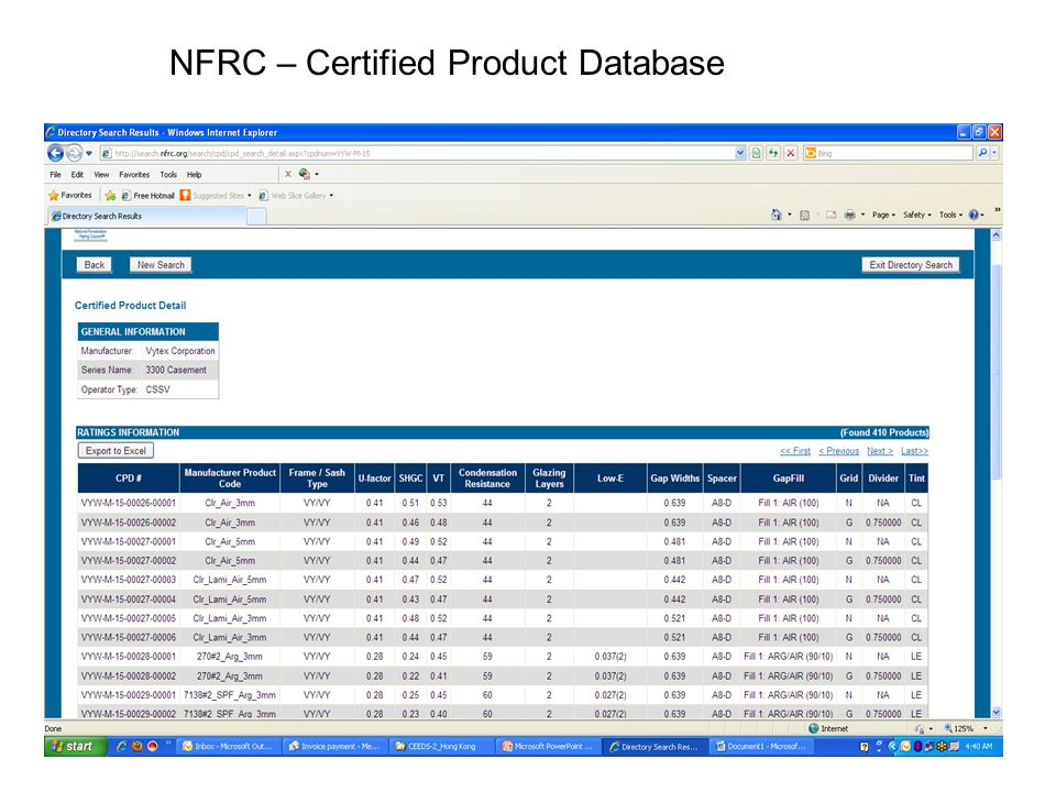 NFRC – Certified Product Database