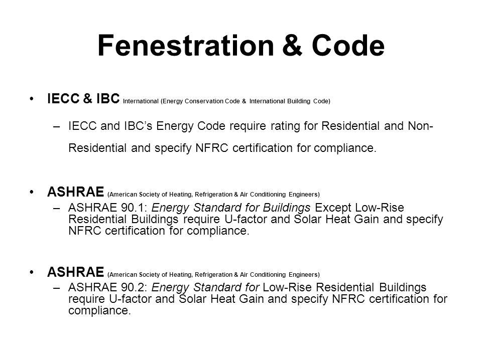 Fenestration & Code IECC & IBC International (Energy Conservation Code & International Building Code)