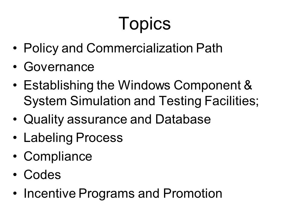 Topics Policy and Commercialization Path Governance