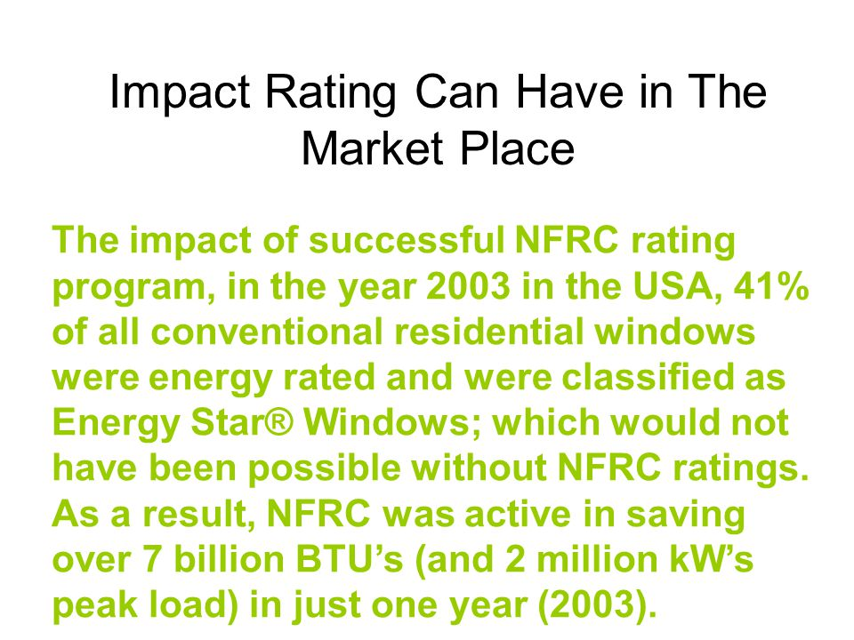 Impact Rating Can Have in The Market Place
