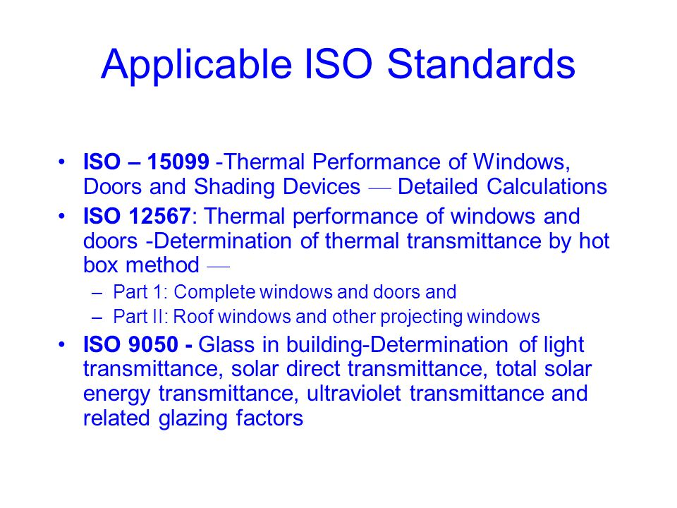 Applicable ISO Standards