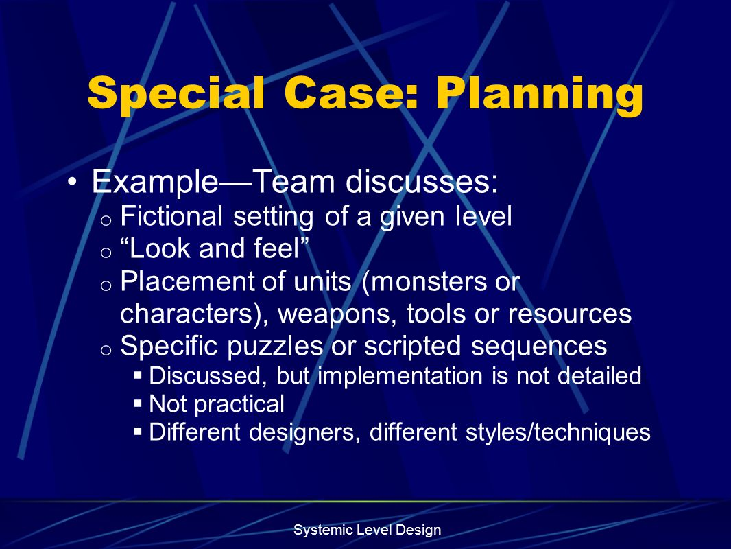 Special Case: Planning