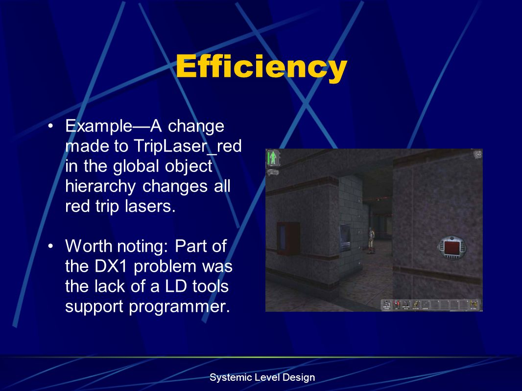 Efficiency Example—A change made to TripLaser_red in the global object hierarchy changes all red trip lasers.