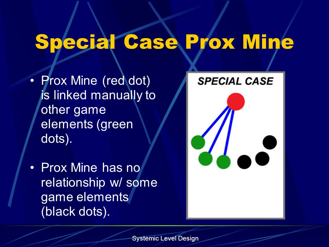 Special Case Prox Mine Prox Mine (red dot) is linked manually to other game elements (green dots).
