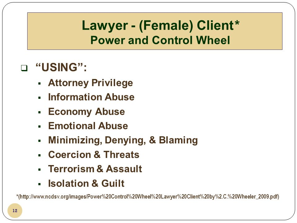 Lawyer - (Female) Client* Power and Control Wheel