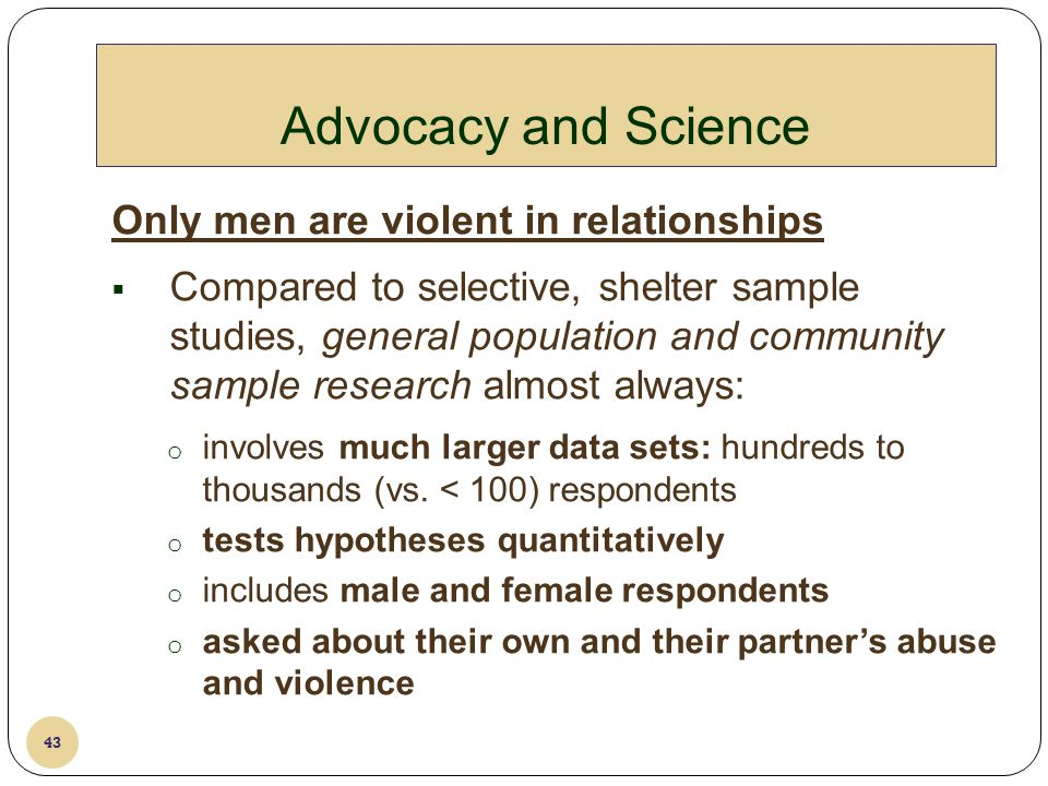 Advocacy and Science Only men are violent in relationships