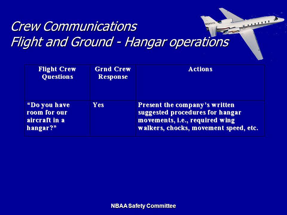 Crew Communications Flight and Ground - Hangar operations