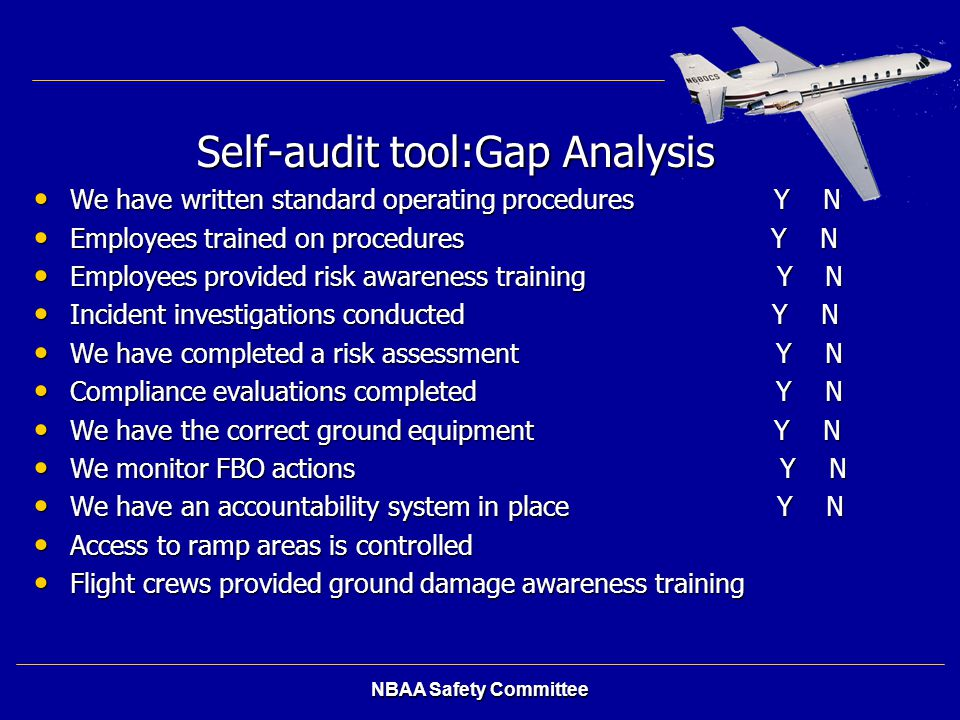Self-audit tool:Gap Analysis