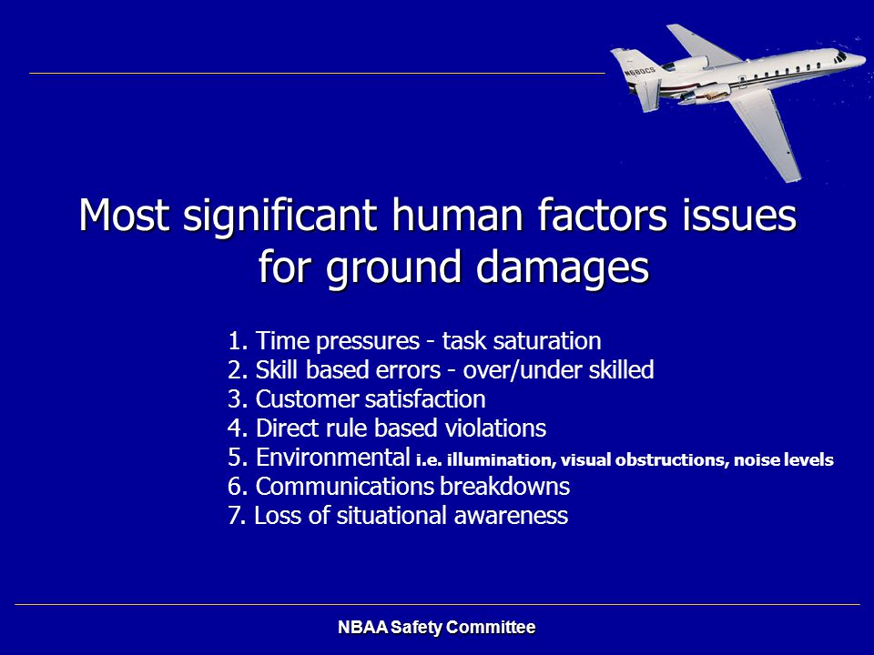 Most significant human factors issues for ground damages
