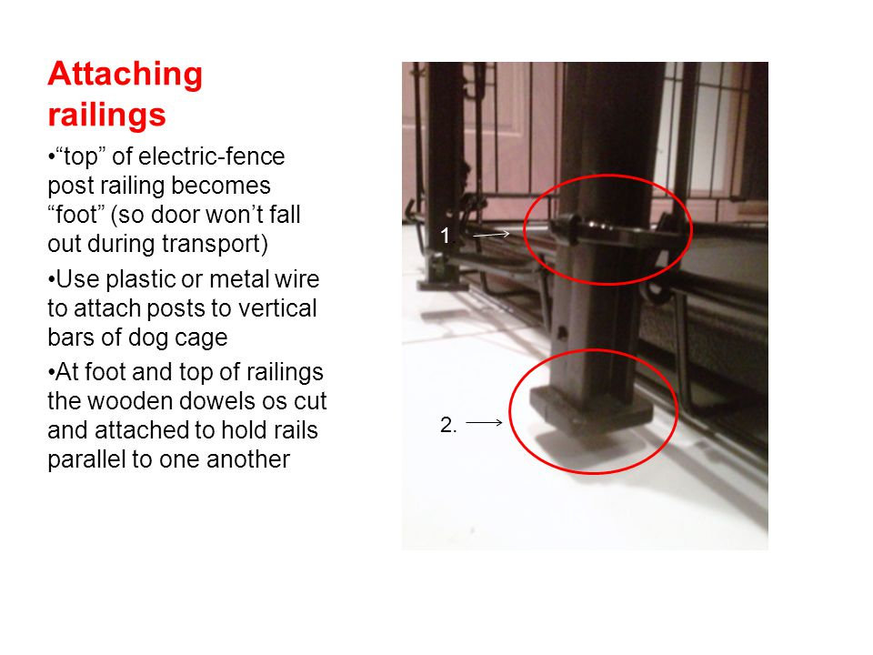 Attaching railings top of electric-fence post railing becomes foot (so door won't fall out during transport)