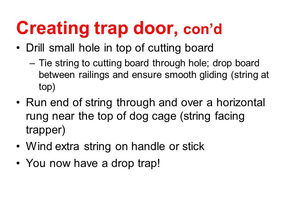 Creating trap door, con'd