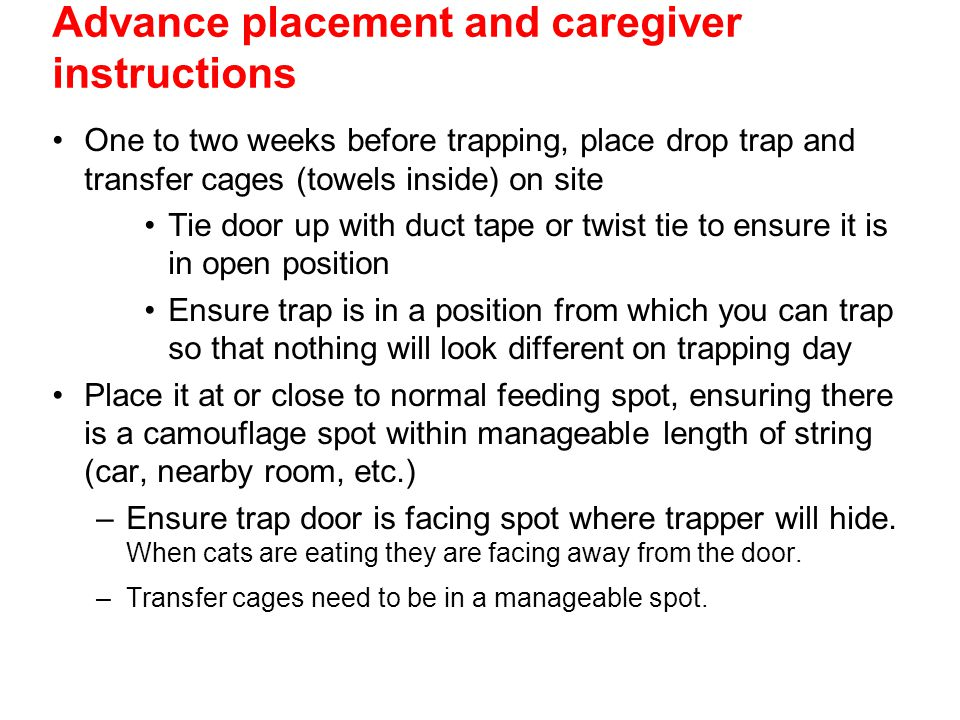 Advance placement and caregiver instructions