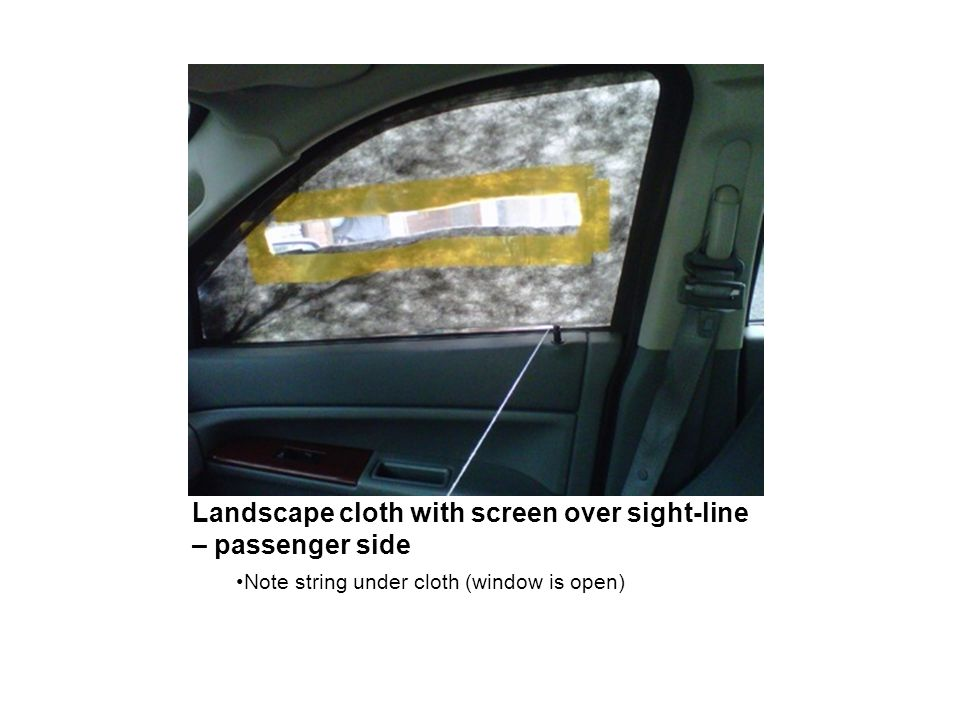 Landscape cloth with screen over sight-line – passenger side