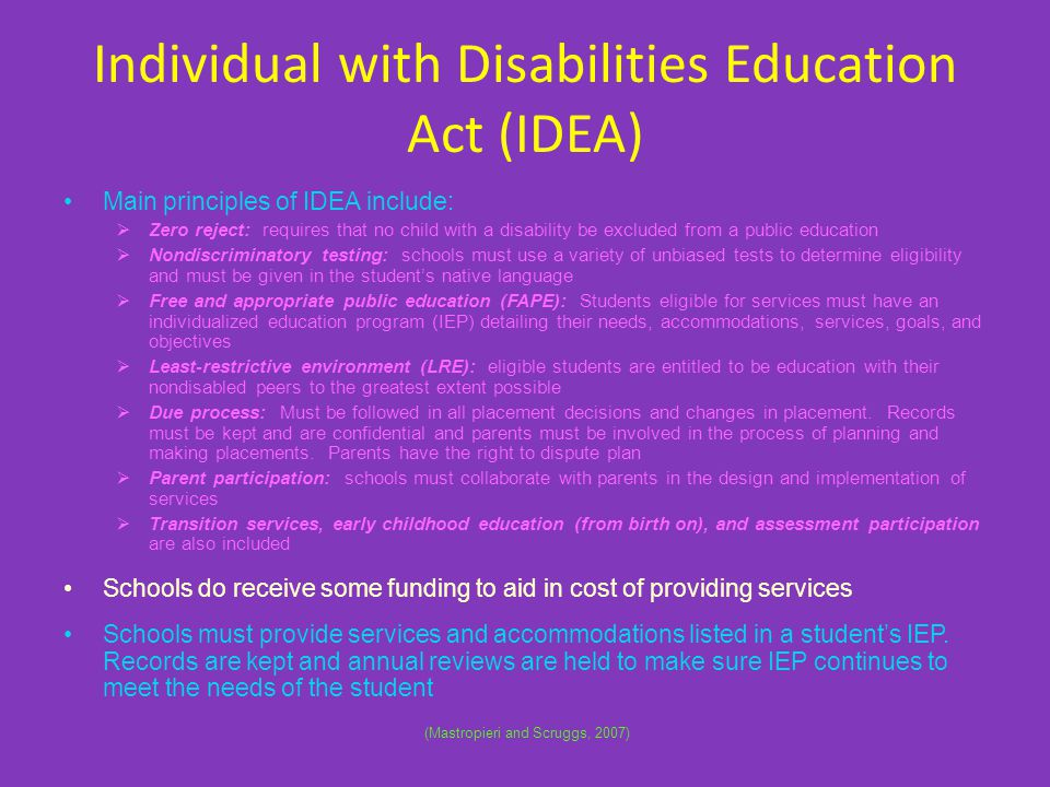 Individual with Disabilities Education Act (IDEA)