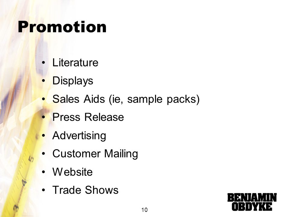 Promotion Literature Displays Sales Aids (ie, sample packs)