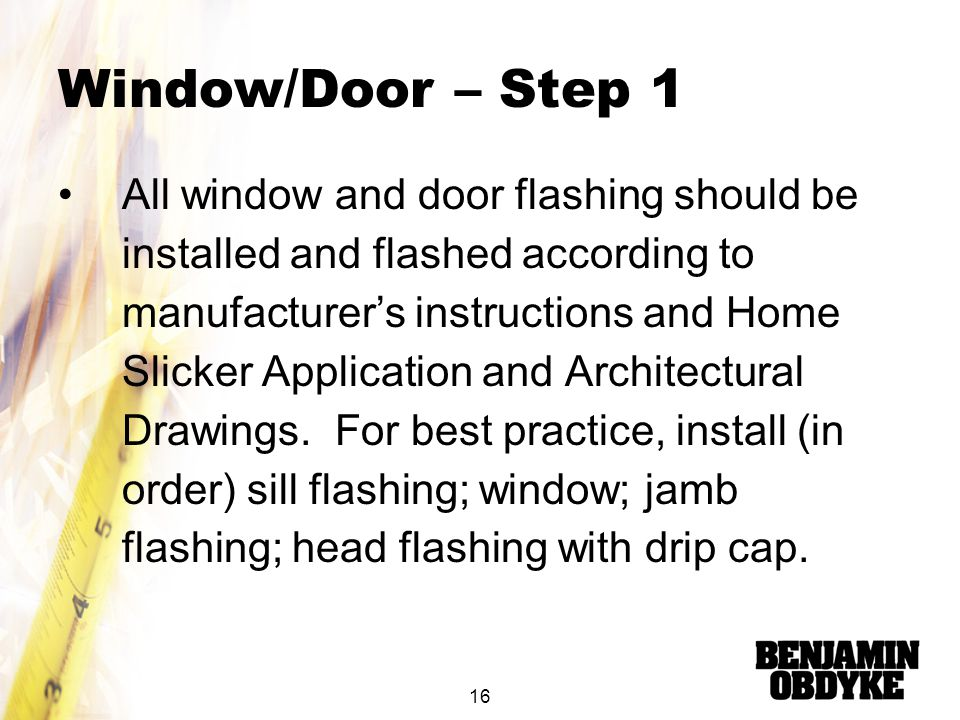 Window/Door – Step 1