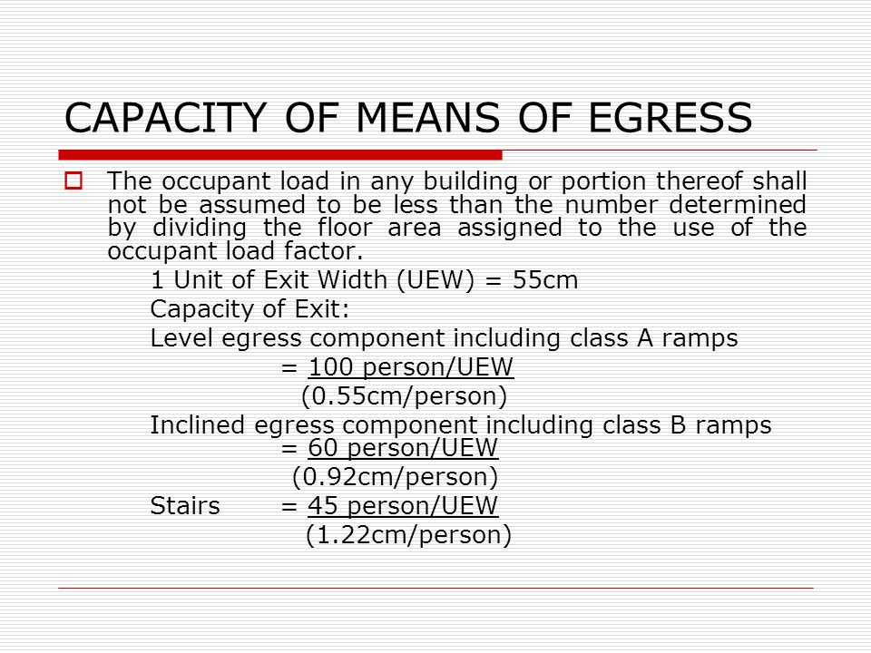 CAPACITY OF MEANS OF EGRESS