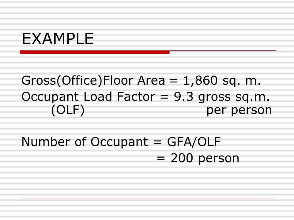 EXAMPLE Gross(Office)Floor Area = 1,860 sq. m.