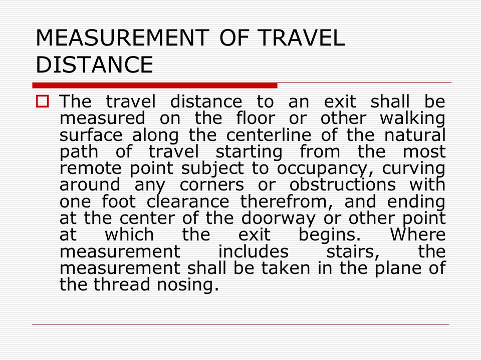 MEASUREMENT OF TRAVEL DISTANCE