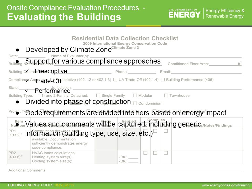 Onsite Compliance Evaluation Procedures - Evaluating the Buildings