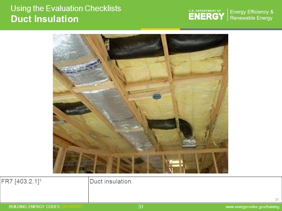 Duct Insulation Using the Evaluation Checklists FR7 [ ]1