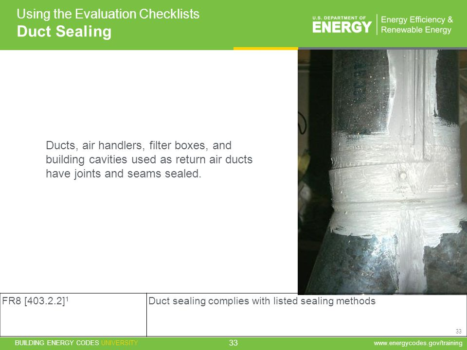 Duct Sealing Using the Evaluation Checklists