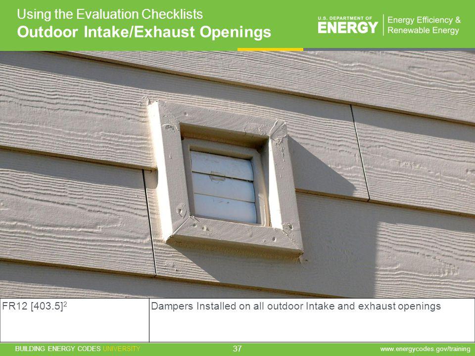 Outdoor Intake/Exhaust Openings