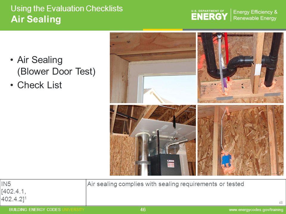 Air Sealing (Blower Door Test) Check List