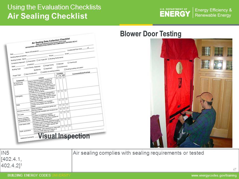 Air Sealing Checklist Blower Door Testing Visual Inspection