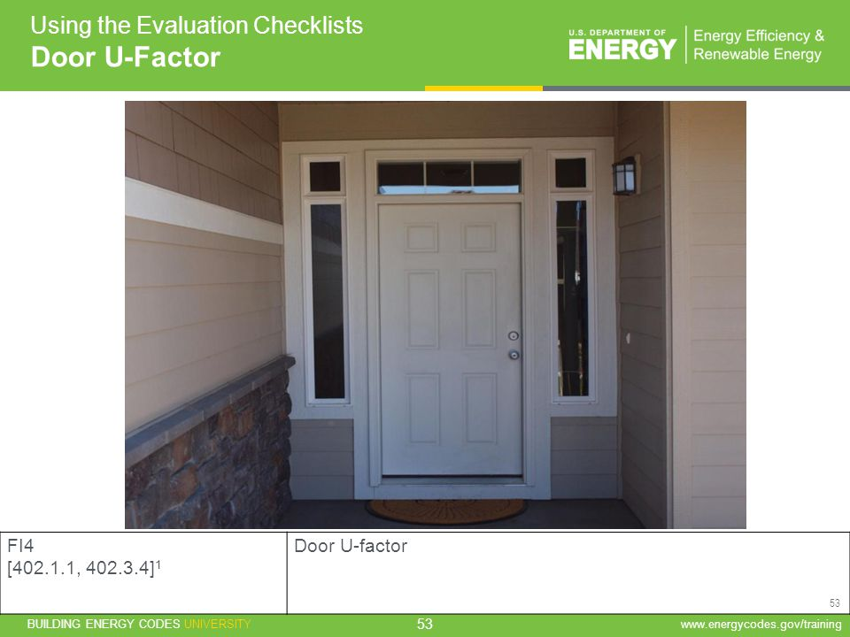 Door U-Factor Using the Evaluation Checklists FI4 [ , ]1