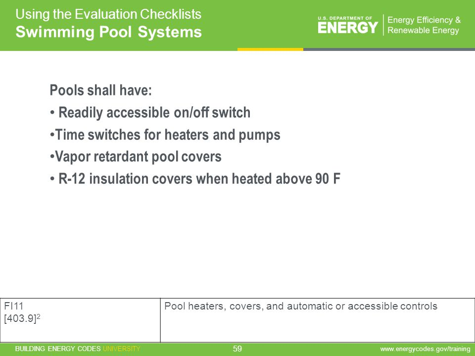 Swimming Pool Systems Pools shall have: