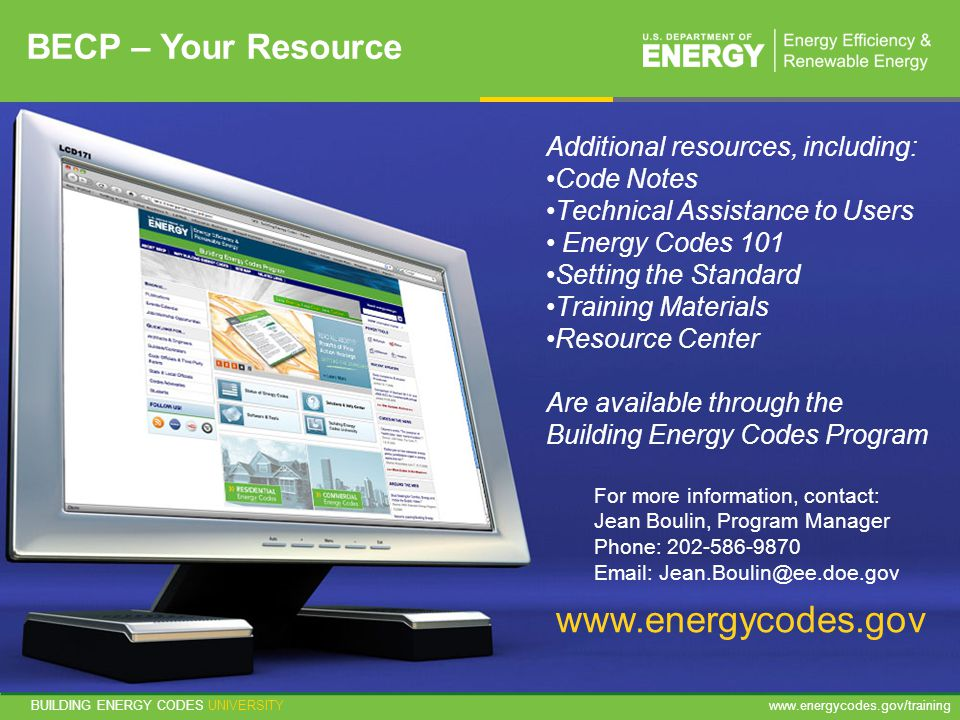 www.energycodes.gov BECP – Your Resource