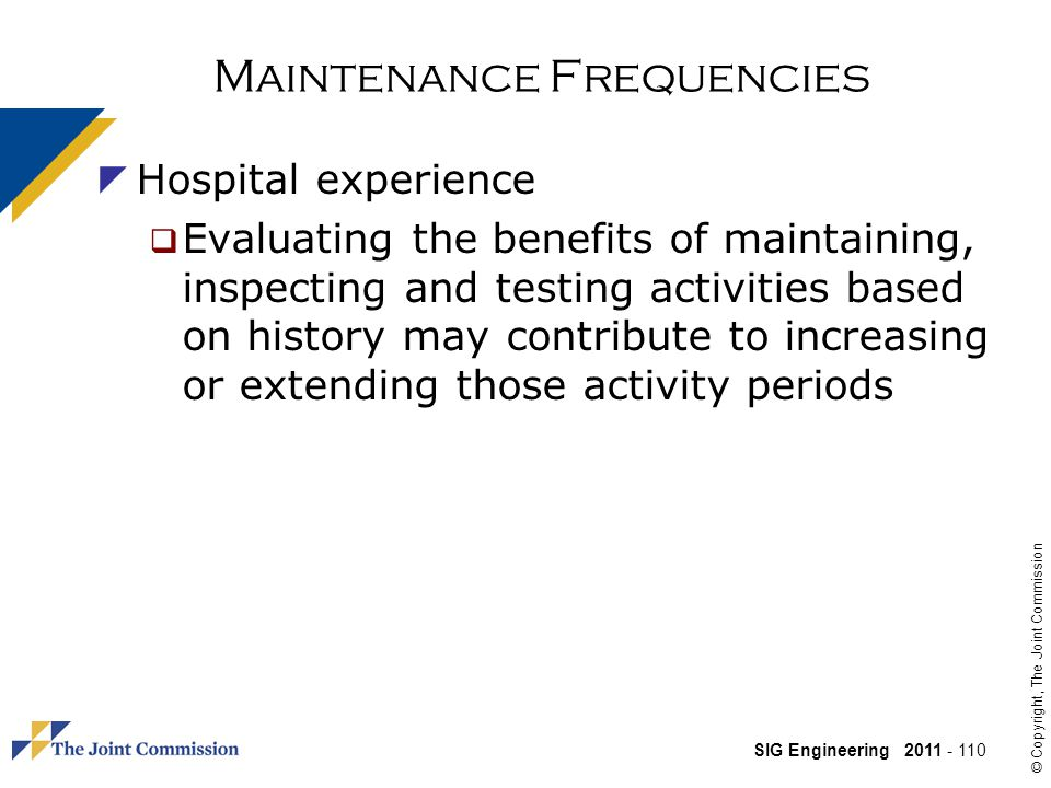 Maintenance Frequencies