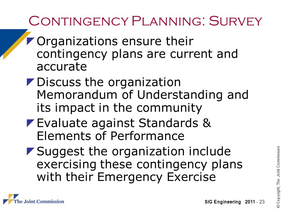 Contingency Planning: Survey