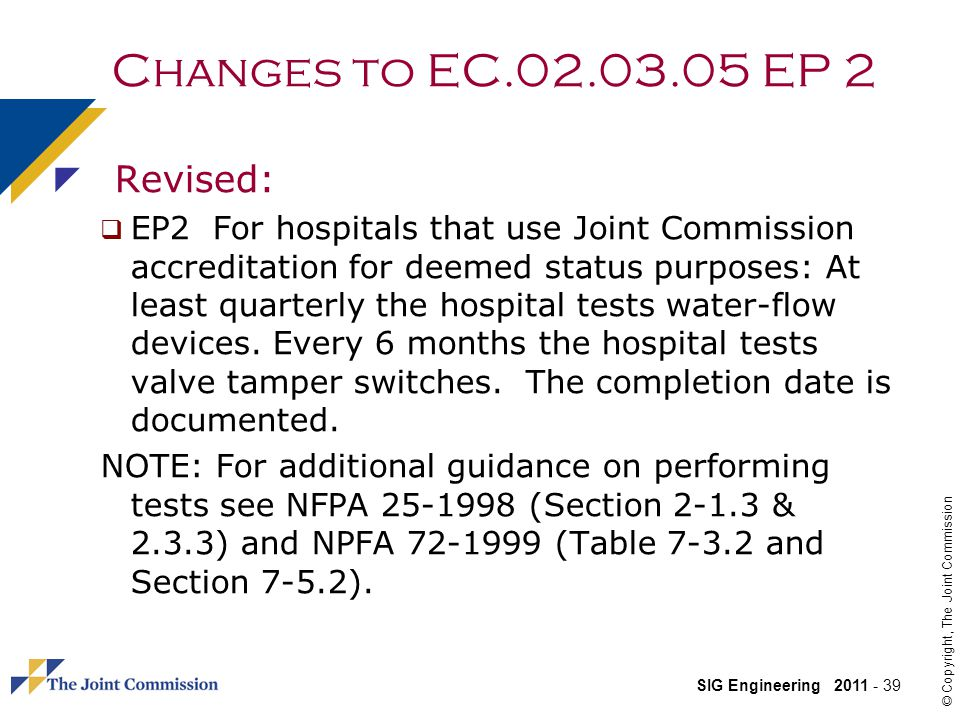 Changes to EC.02.03.05 EP 2 Revised: