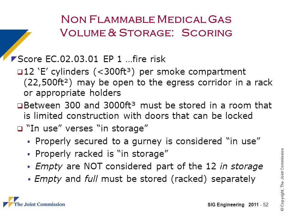 Non Flammable Medical Gas Volume & Storage: Scoring