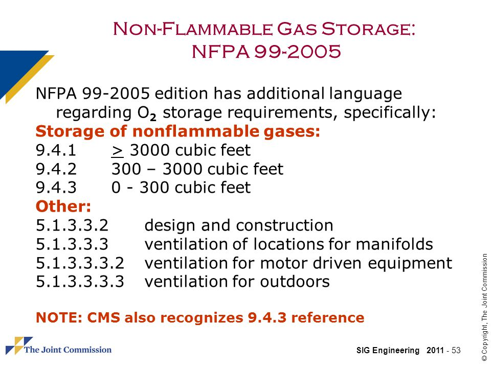 Non-Flammable Gas Storage: NFPA 99-2005