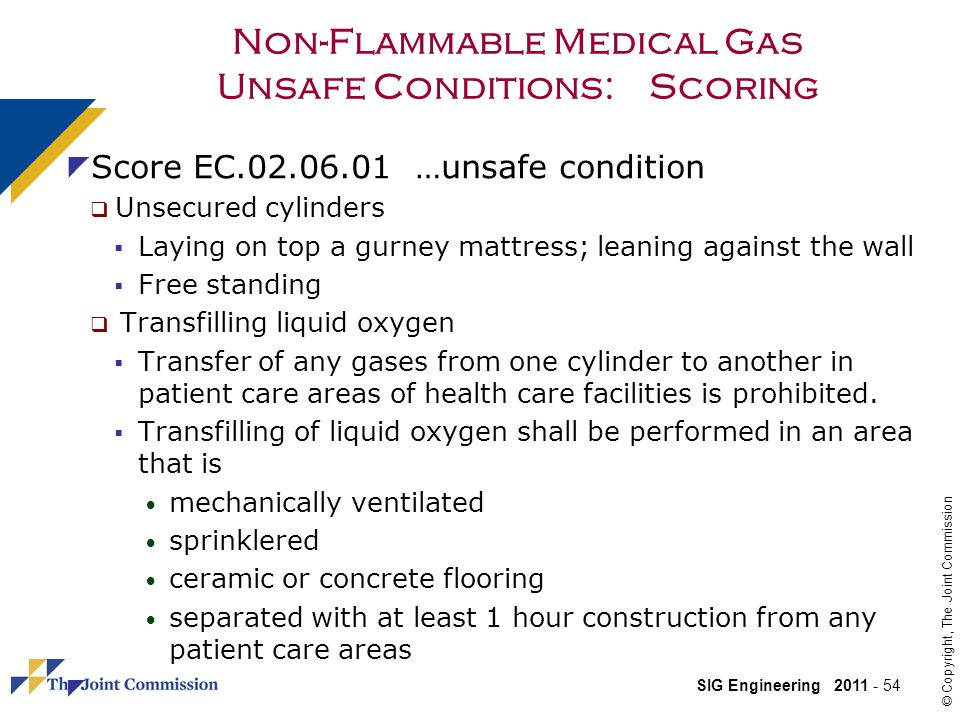 Non-Flammable Medical Gas Unsafe Conditions: Scoring