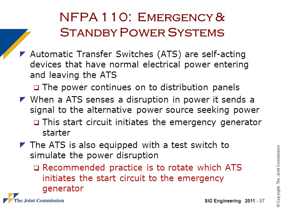 NFPA 110: Emergency & Standby Power Systems