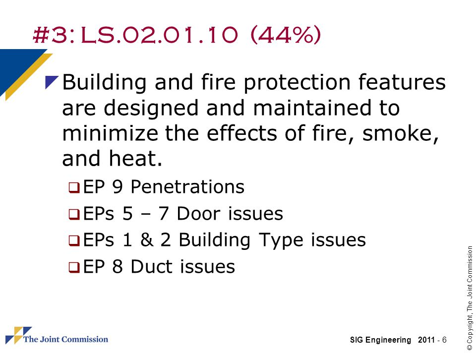 #3: LS.02.01.10 (44%) Building and fire protection features are designed and maintained to minimize the effects of fire, smoke, and heat.