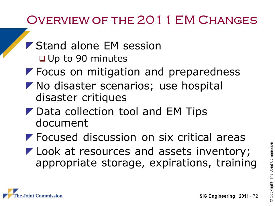 Overview of the 2011 EM Changes
