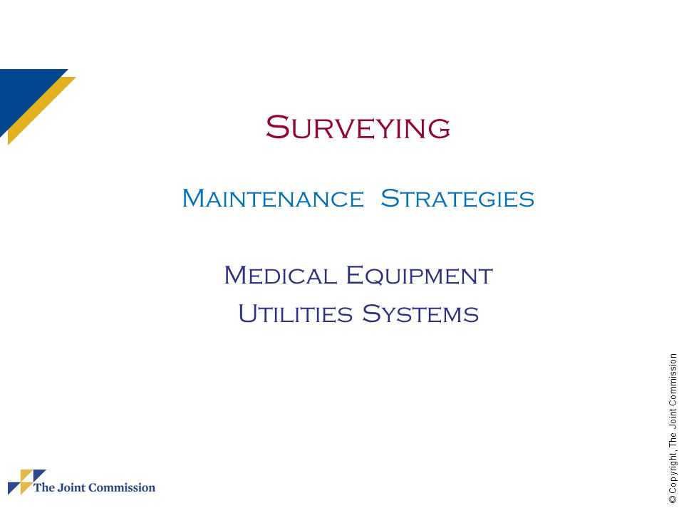 Maintenance Strategies Medical Equipment Utilities Systems