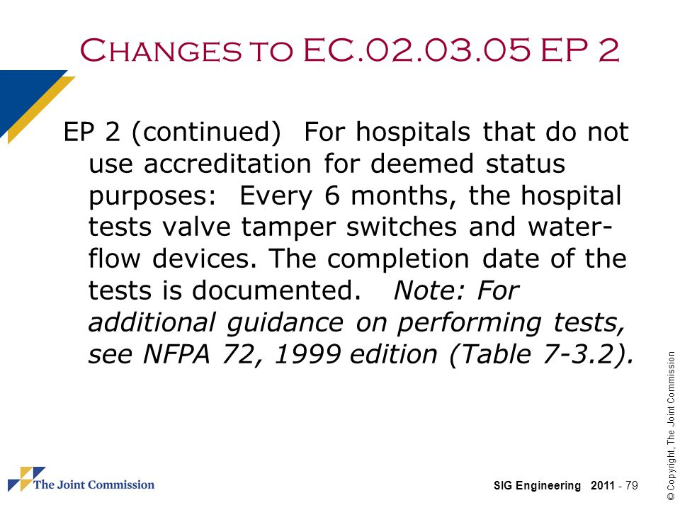 Changes to EC.02.03.05 EP 2