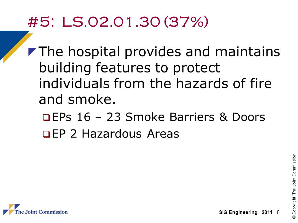 #5: LS.02.01.30 (37%) The hospital provides and maintains building features to protect individuals from the hazards of fire and smoke.